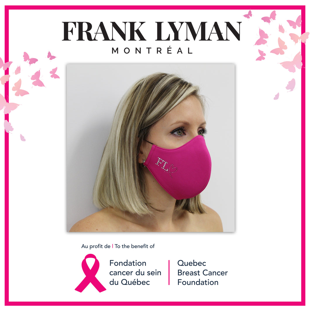 Unisex Adult Mask Quebec Breast Cancer Foundation in Fuchsia Solid Color