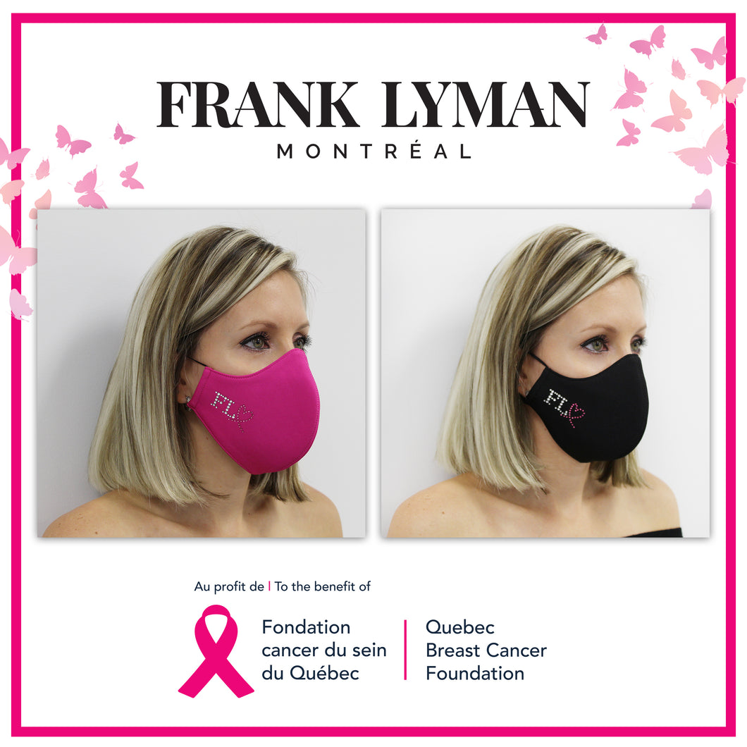 Unisex Adult Masks Quebec Breast Cancer Foundation (Mixed Set of 2 - 1 in Fuchsia & 1 in Black)