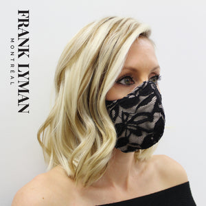 Unisex Adult Masks (Set of 2 in Lace Black Beige Color)