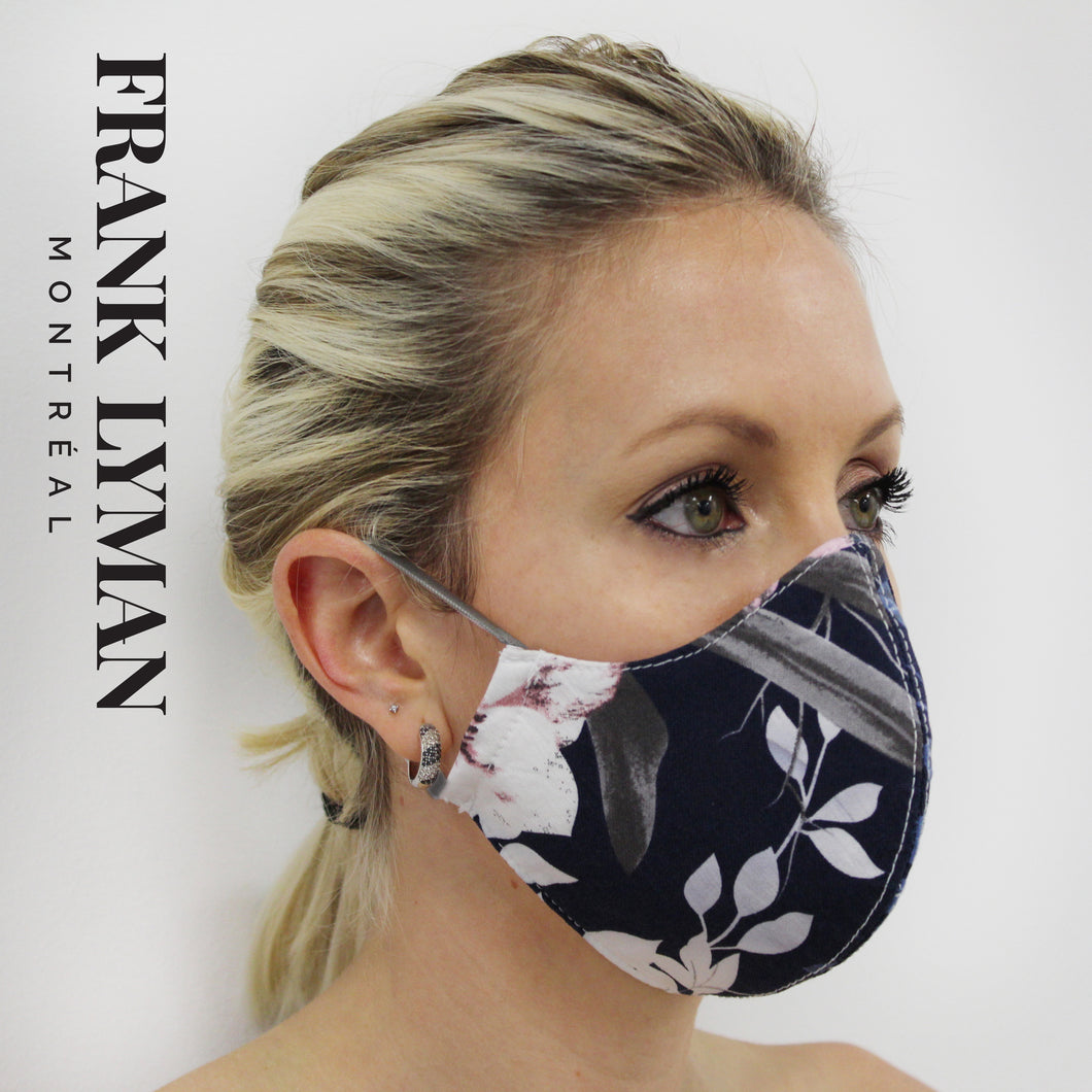 Unisex Adult Masks (Set of 2 in Navy Pink Print)