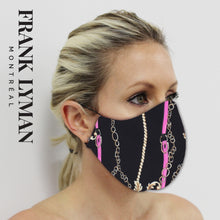 Load image into Gallery viewer, Unisex Adult Mask in Fuchsia Chain Print