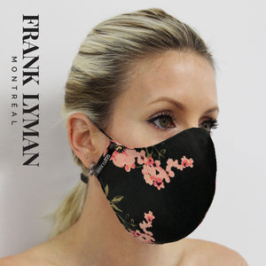 Unisex Adult Masks (Set of 2 in Black Pink Small Floral Print)