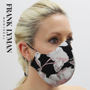 Unisex Adult Masks (Set of 2 in Pink Black Floral Print)