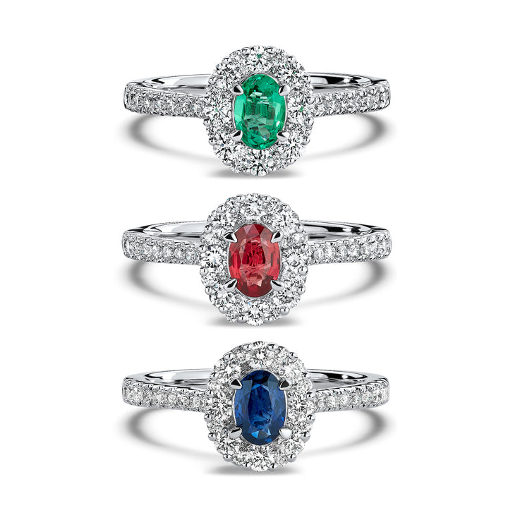 emerald, ruby and sapphire engagement rings