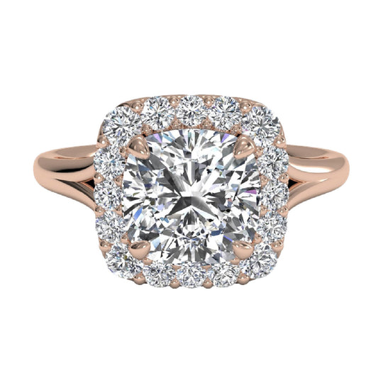 Rose gold engagement ring with a french-set diamond halo