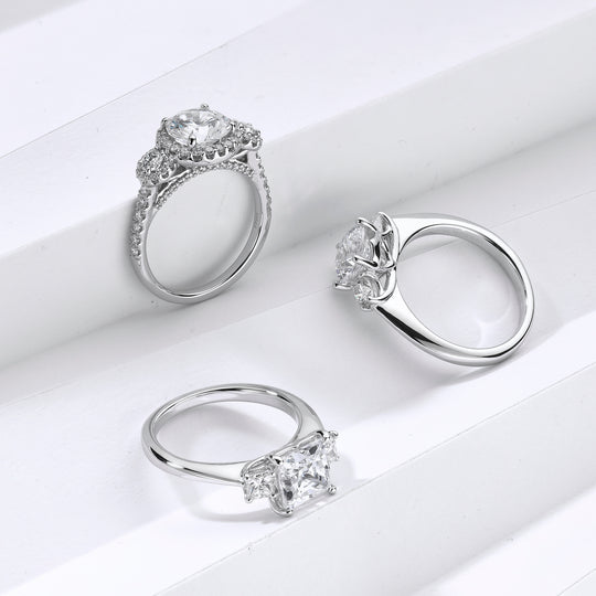 three platinum engagement rings