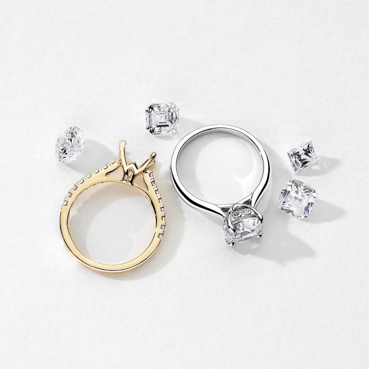 yellow gold and white gold engagement ring