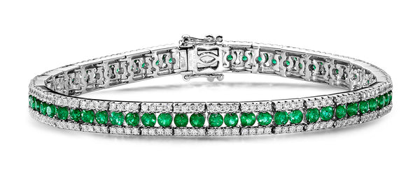 Emerald and diamond tennis bracelet
