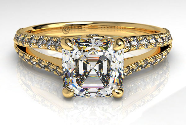 Asscher cut engagement ring in yellow gold