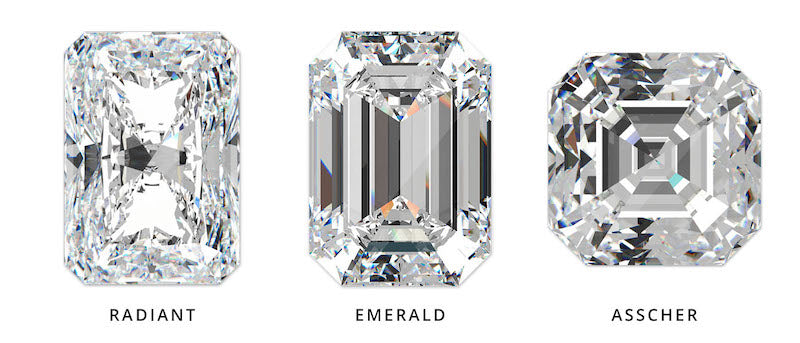 radiant diamond vs emerald diamond vs asscher diamond