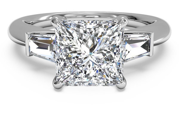 princess cut diamond engagement ring with baguette sidestones