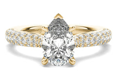 yellow gold pear-cut sidestone engagement ring