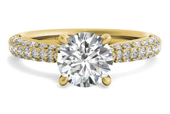 yellow gold round cut engagement ring