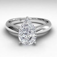 14kt White Gold/pear