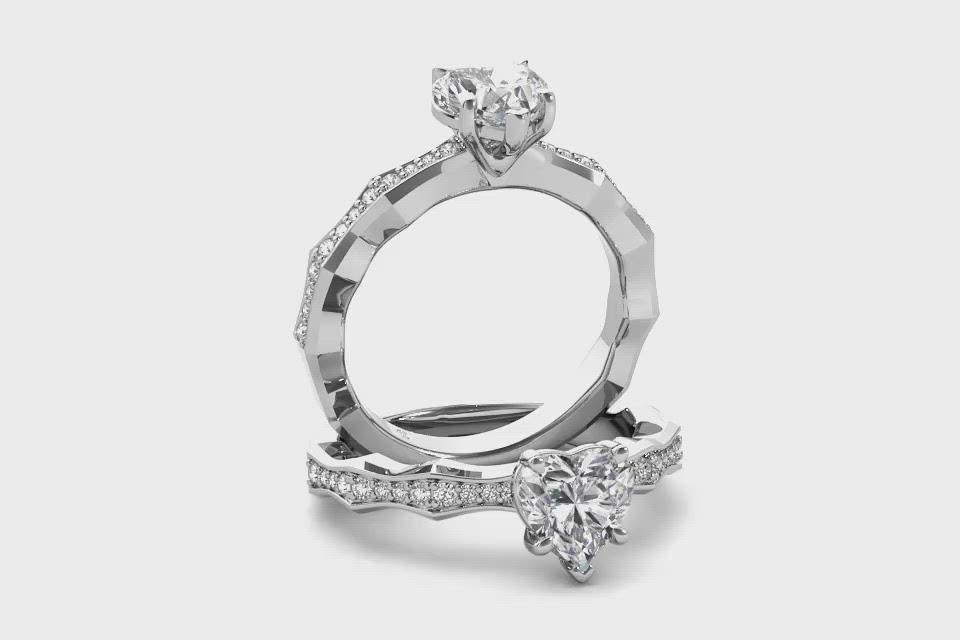 18kt White Gold/heart