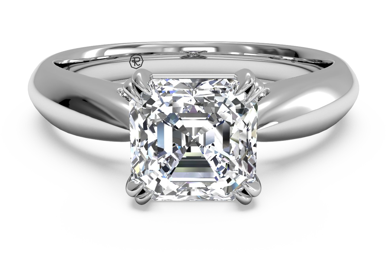 Solitaire Diamond Tulip Cathedral Engagement Ring