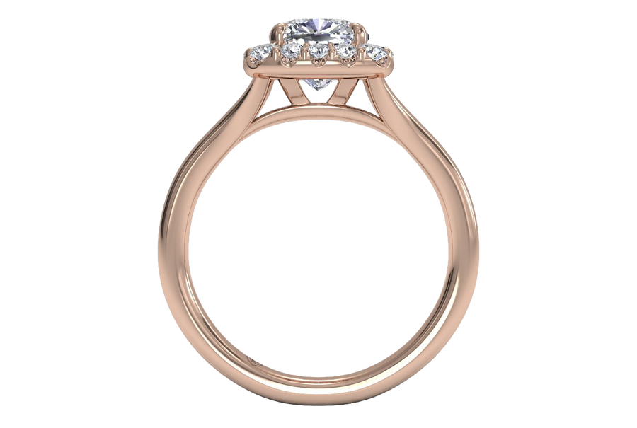 18kt Rose Gold / Cushion / Front