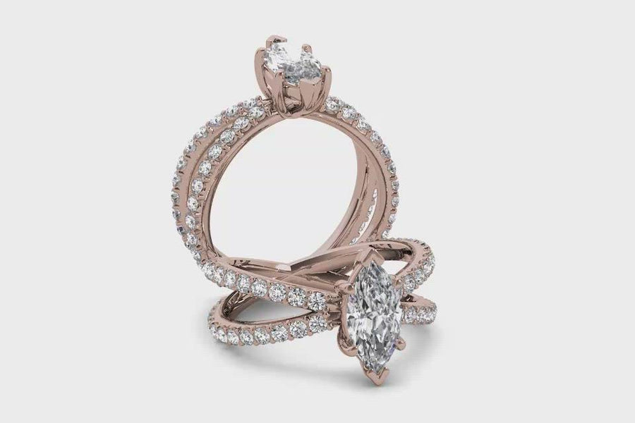 18kt Rose Gold/marquise