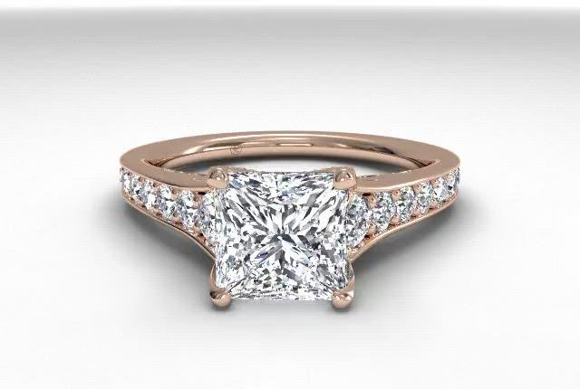 18kt Rose Gold/princess