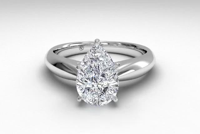 18kt White Gold/pear