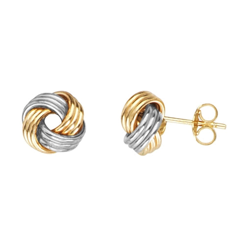 Two-Tone Love Knot Earring Studs
