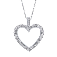0.50 CTW Sterling Silver Diamond Heart Pendant
