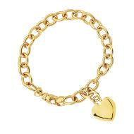 14kt Yellow Gold Oval Rolo Heart Charm Bracelet
