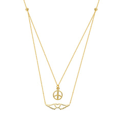 14kt Yellow Gold Mini Peace Layered Necklace
