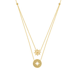 14kt Yellow Gold Mini Compass Layered Necklace