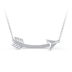 0.1 CTW Sterling Silver Diamond Arrow Necklace