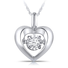 0.12 CT Sterling Silver Diamond Solitaire Heart Pendant
