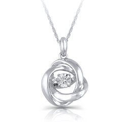 0.015CT Sterling Silver Diamond Circle of Love Pendant