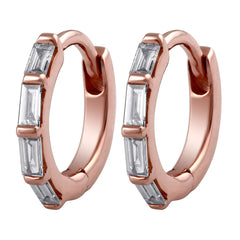 10kt Rose Gold Baguette Diamond Huggie Earrings