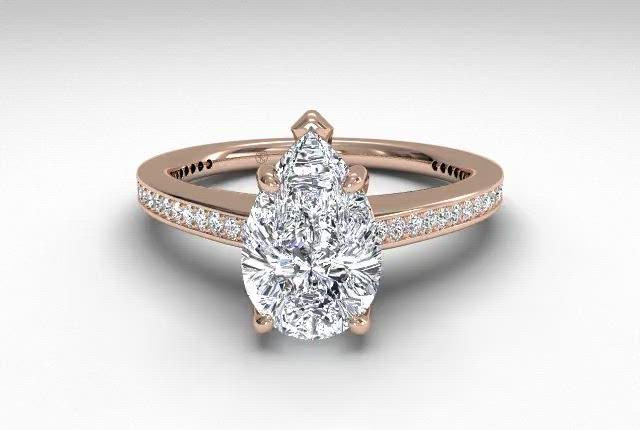18kt Rose Gold/pear
