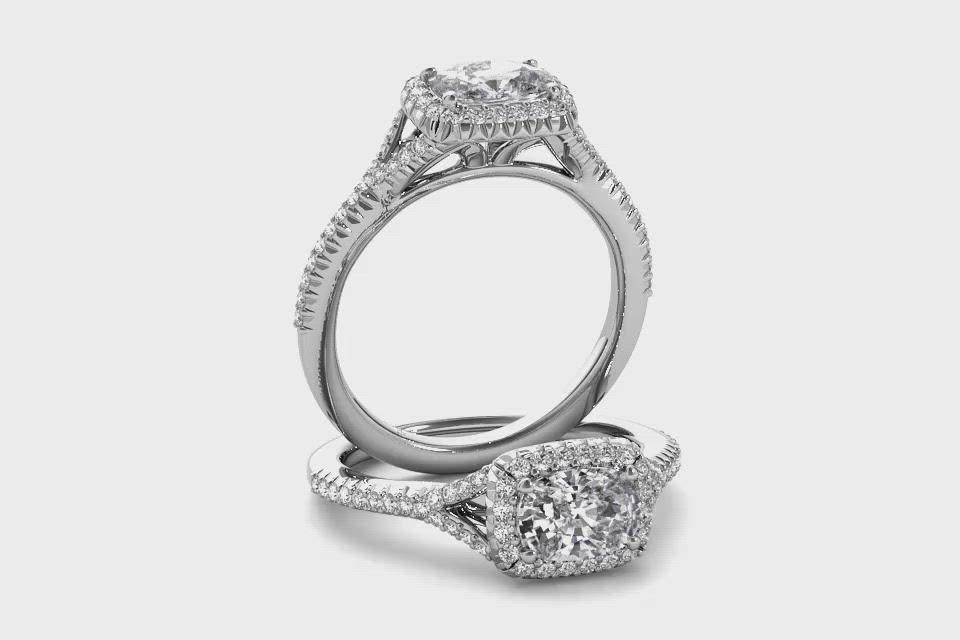 14kt White Gold/cushion