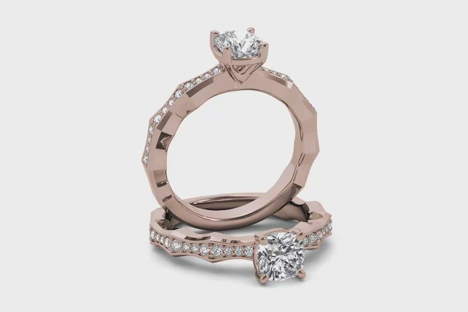 18kt Rose Gold/cushion