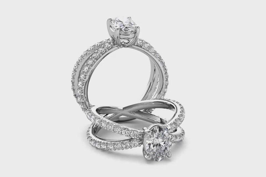 18kt White Gold/oval