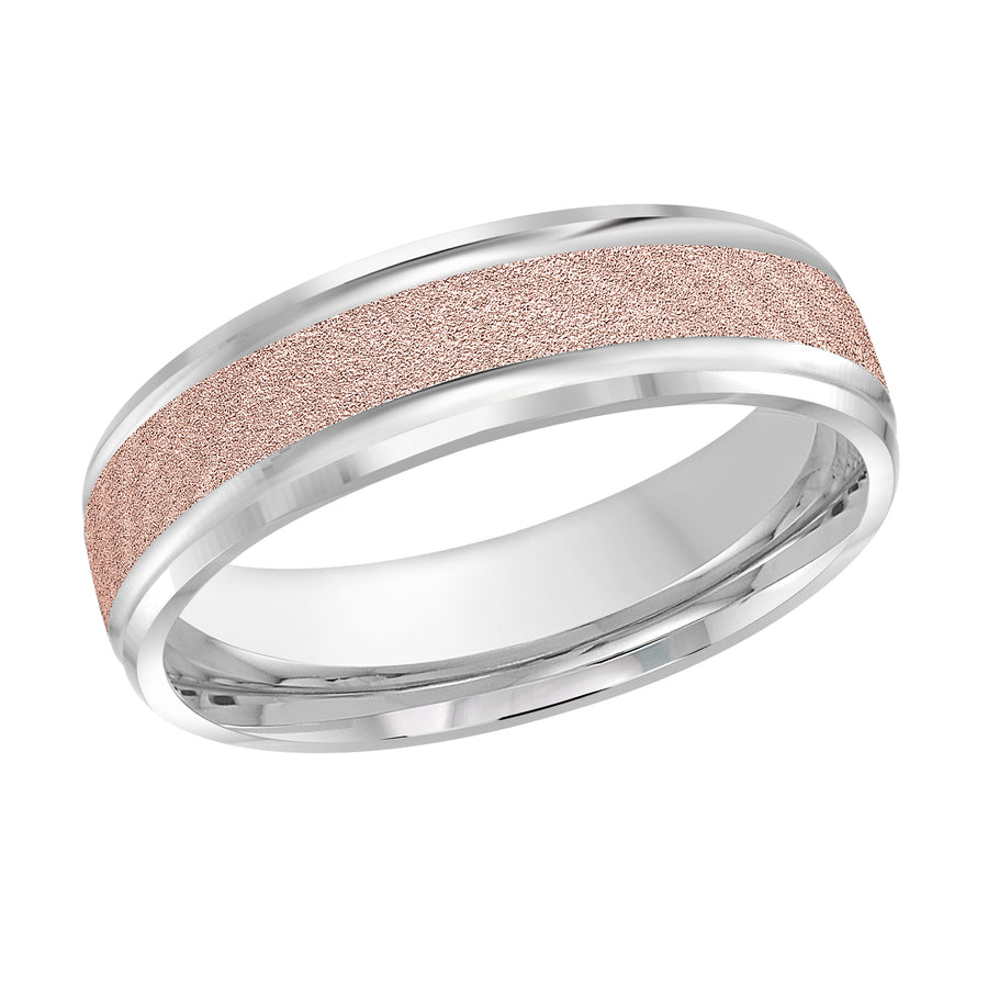 Men's 6mm Two-tone Sandblast-finish Beveled Edge Wedding Ring