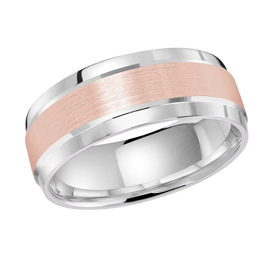 Men's 8mm Two-tone Brushed-center Polished-edge Wedding Ring