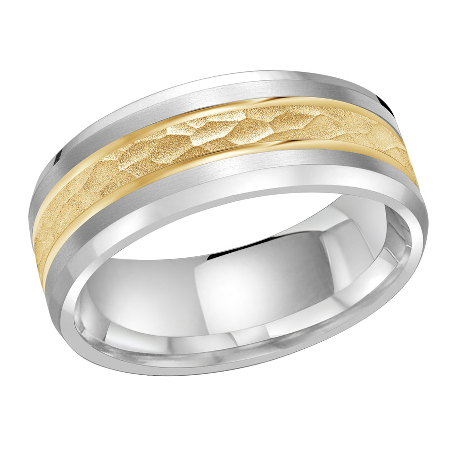 Men's 8mm Two-tone Double Inlay Hammered-finish Wedding Ring