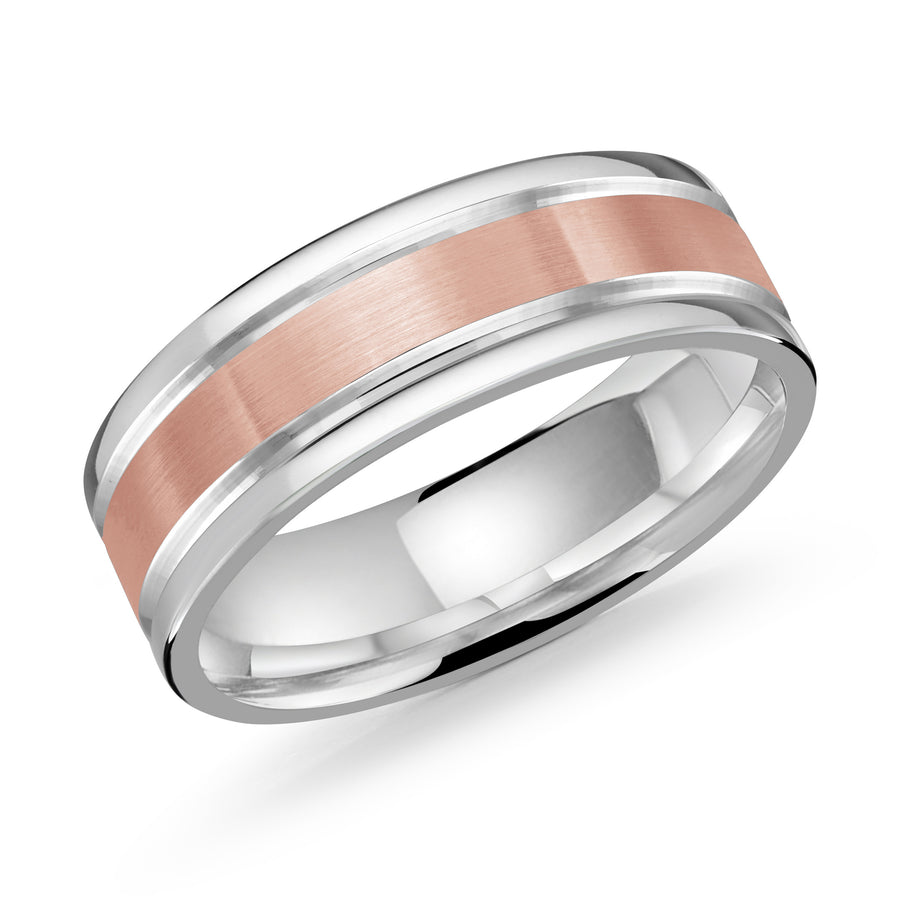 Men's 7mm Two-tone Brushed And Beveled Wedding Ring