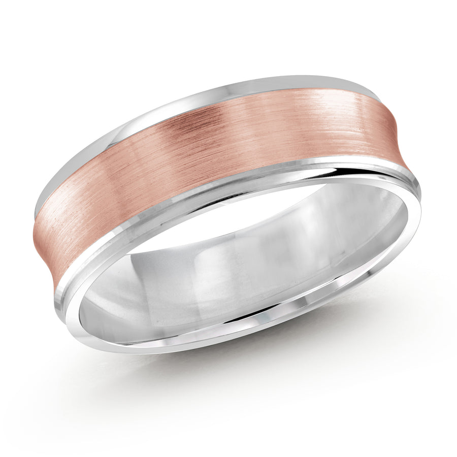 Men's 6mm Two-tone Concave Satin-finish Wedding Ring