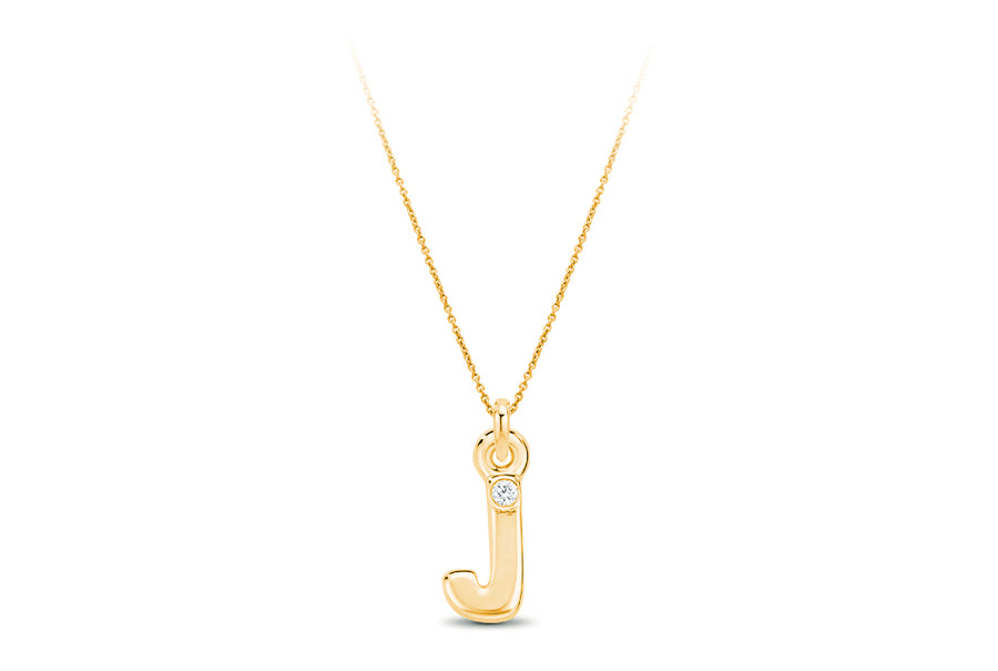 14kt Yellow Gold/J/front