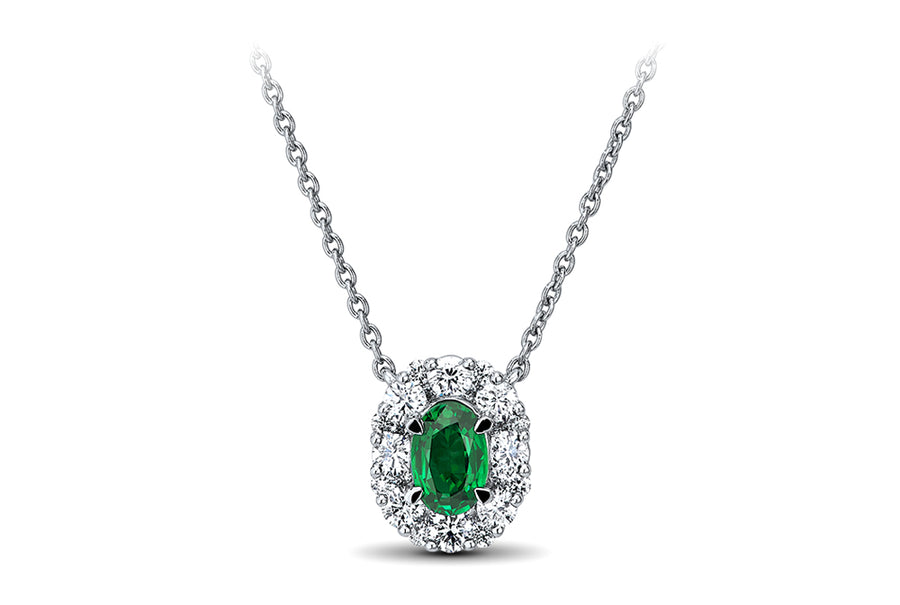 18kt White Gold/Emerald/front
