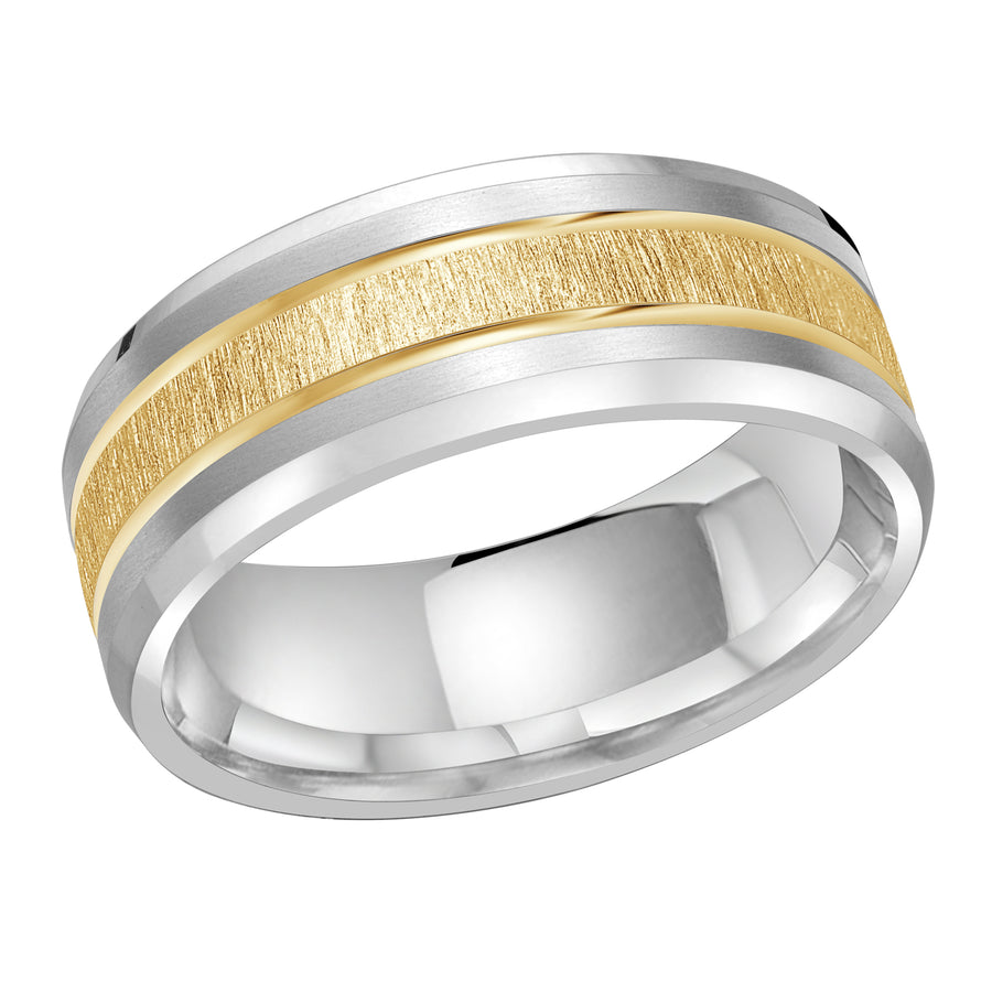Men's Two-tone Double Inlay Sandpaper-finish Wedding Ring