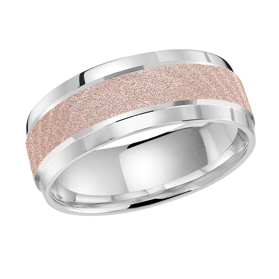 Men's 8mm Two-tone Sandblast-center Polished-edge Wedding Ring