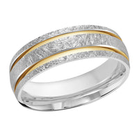 Men's Two-tone Double Inlay Scratch-finish Wedding Ring