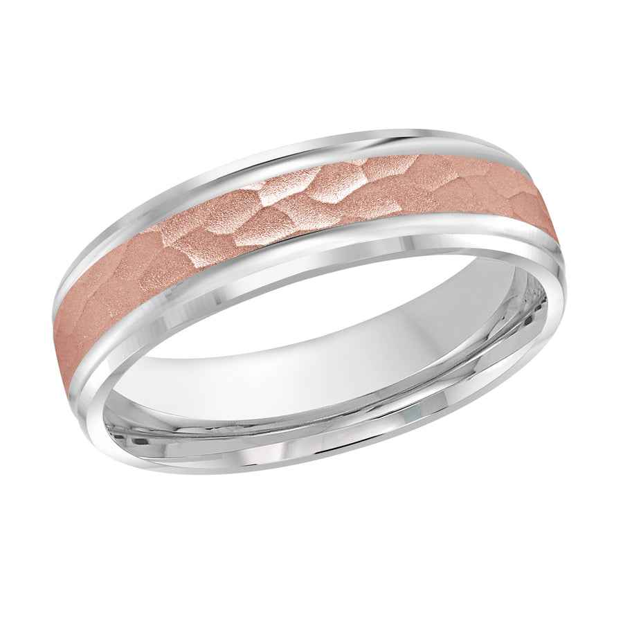 Men's 6mm Two-tone Hammered-finish Beveled Edge Wedding Ring