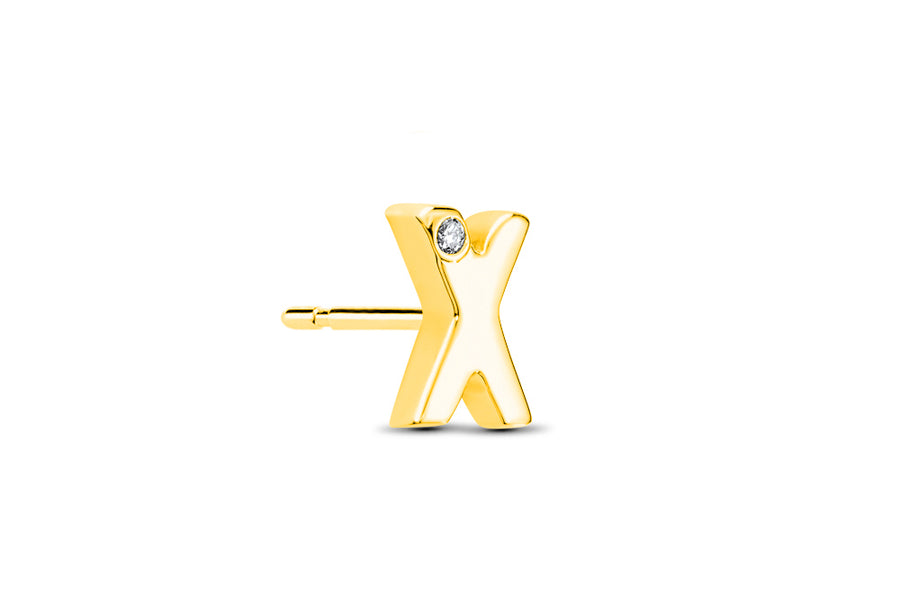 14kt Yellow Gold/X/side