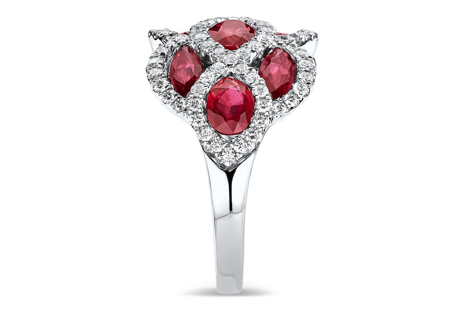 18kt White Gold/Ruby/side